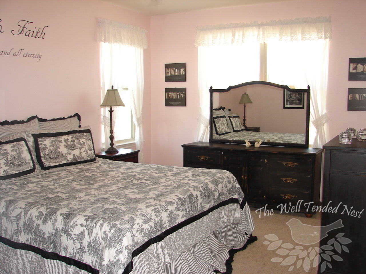 Pink and Black Vintage Bedroom