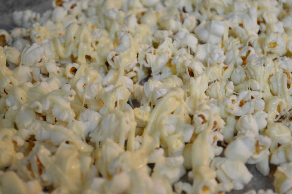 Popcorn drizzled w white choc